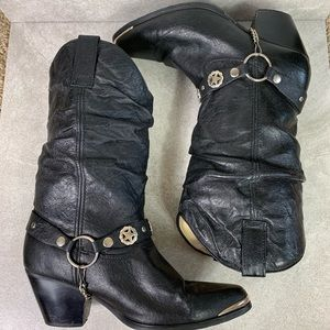 Dingo Olivia Black Leather Western Slouch Boots